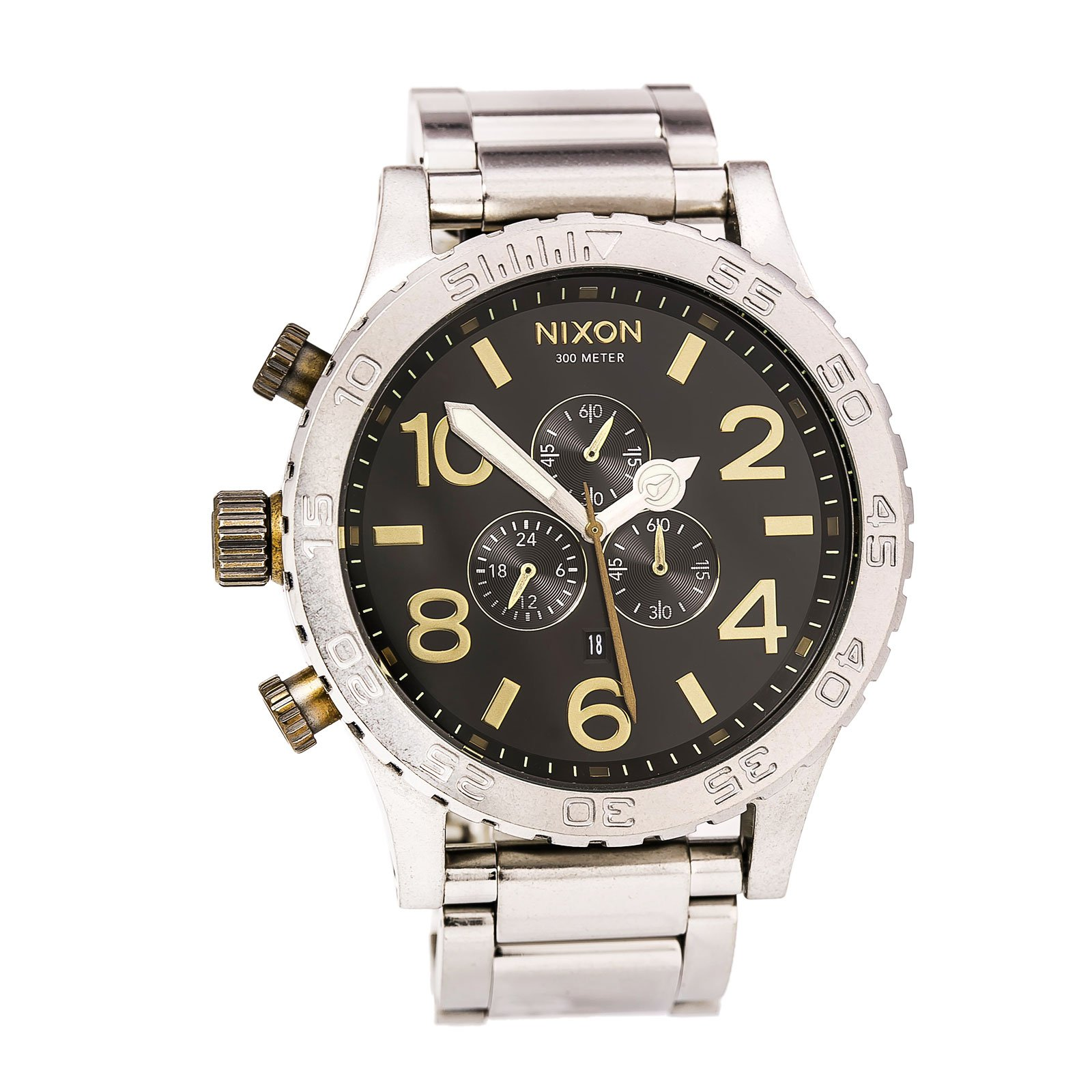 Nixon A0832222 Men's 51-30 Chrono Black Dial Stainless Steel Bracelet Lefty Dive Watch