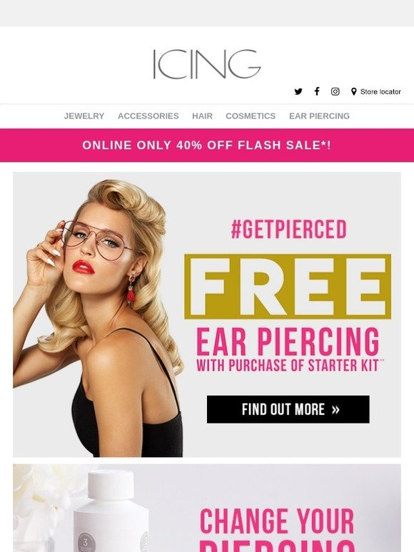 Icing Free Ear Piercing In Store Milled