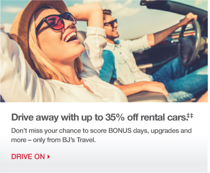 Drive away with up to 35% off rental cars.