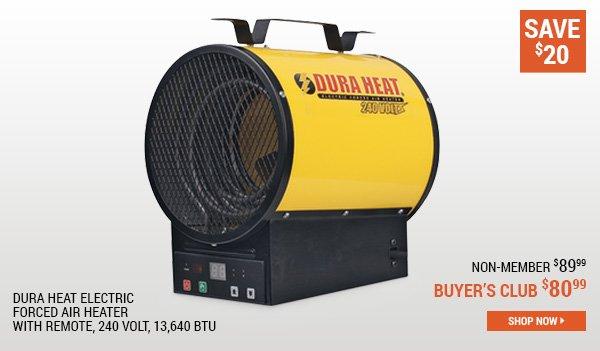 Dura Heat Electric Forced Air Heater with Remote, 240 Volt, 13,640 BTU