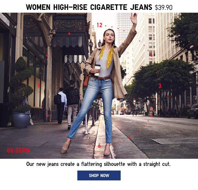 WOMEN HIGH-RISE CIGARETTE JEANS
