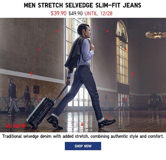 MEN STRETCH SELVEDGE: SLIM-FIT JEANS - SHOP SELVEDGE JEANS