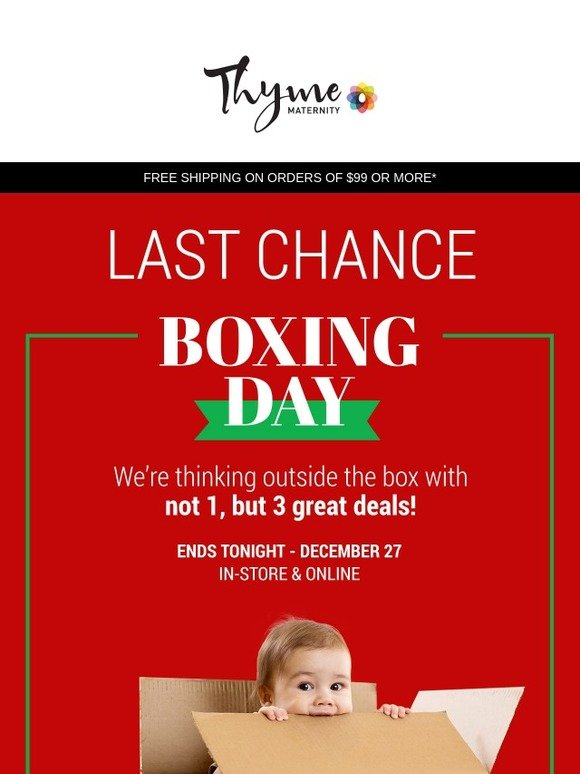 6079e35393007 Thyme Maternity: LAST chance for Boxing Day DEALS! | Milled