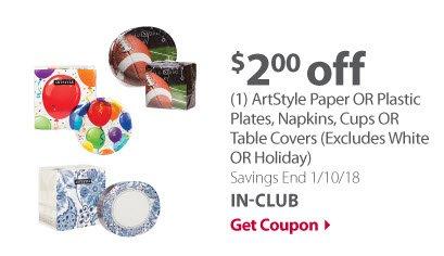 ArtStyle Paper/Plastic cups, plates, napkins