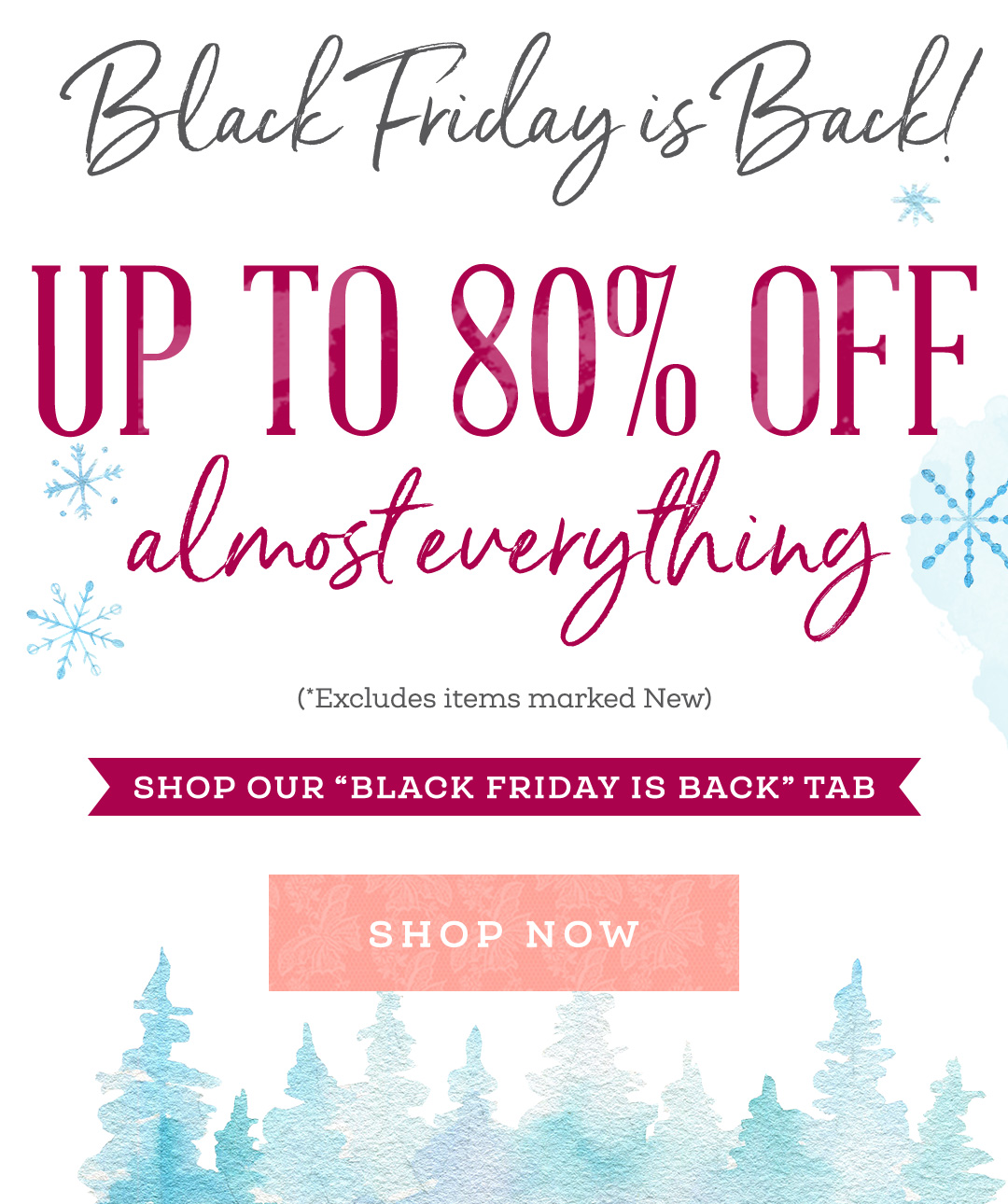 "Black Friday is Back! Up to 80% off almost everything! Excludes items marked New. | Shop our ""Black Friday is Back"" Tab >"