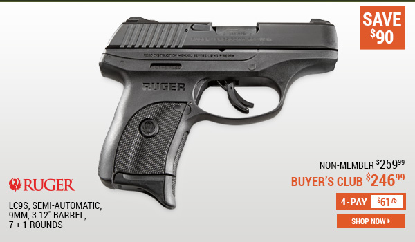 Ruger LC9s, Semi-Automatic, 9mm, 3.12 Inch Barrel, 7 + 1 Rounds