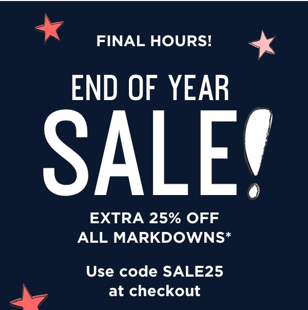 Final Hours: Extra 25 Off