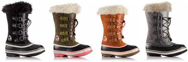 A profile view of four kids winter boots.