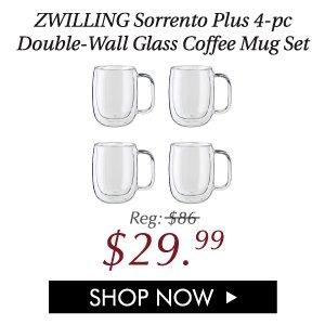 Sorrento Plus 4-pc Double-Wall Glass Coffee Mug Set