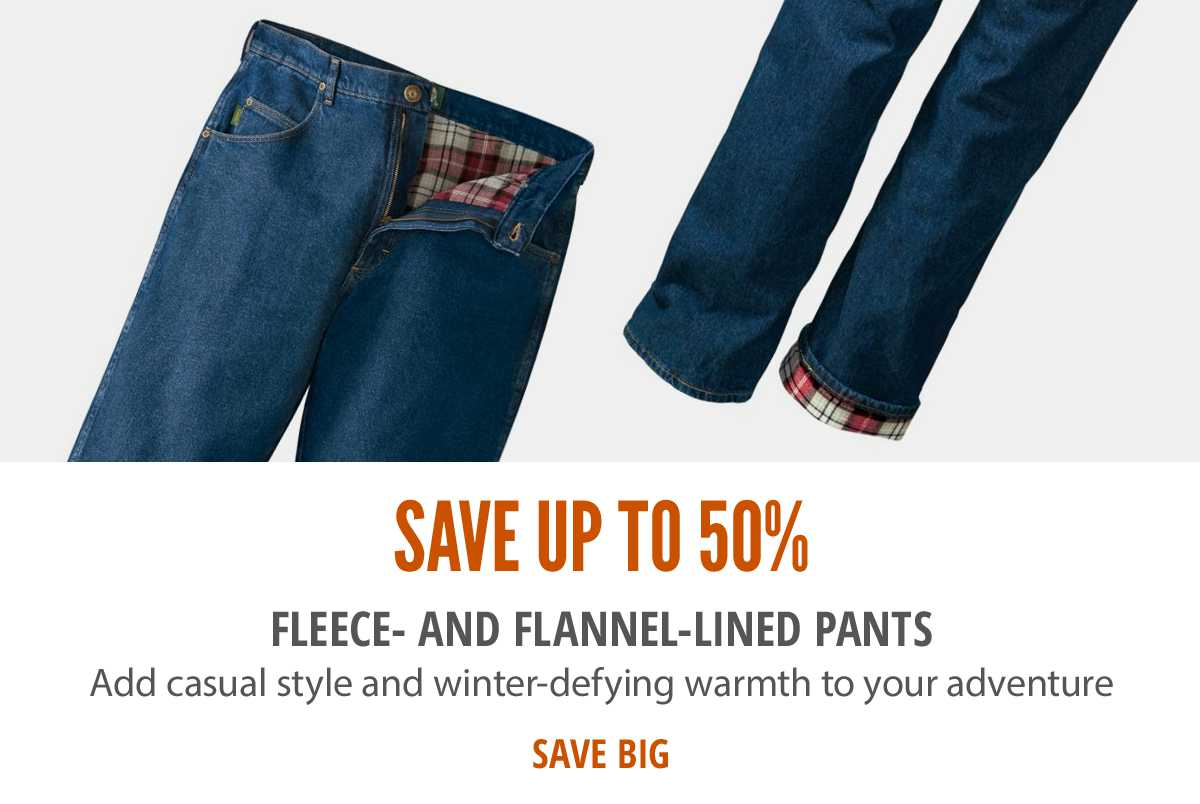 Save up to 50% on Fleece Lined Jeans