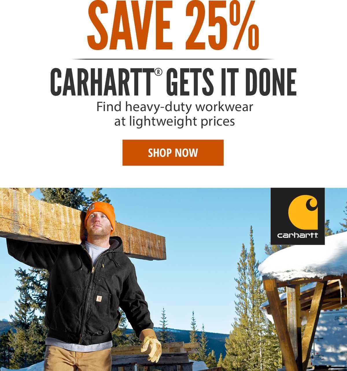 Save 25% on Select Carhartt