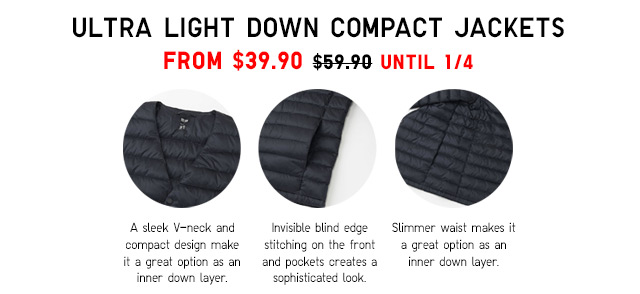 ULTRA LIGHT DOWN COMPACT JACKETS - NOW $49.90 - SHOP NOW