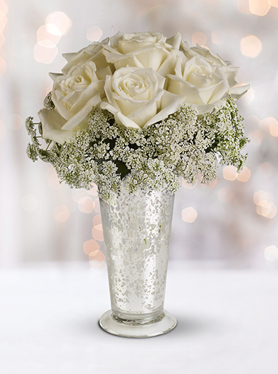 Telefloras White Lace Centerpiece