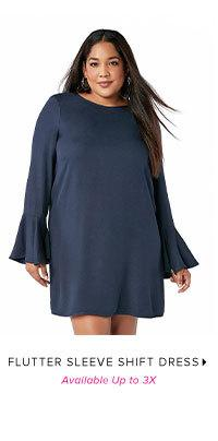 FLUTTER SLEEVE SHIFT DRESS AVAILABLE UP TO 3X