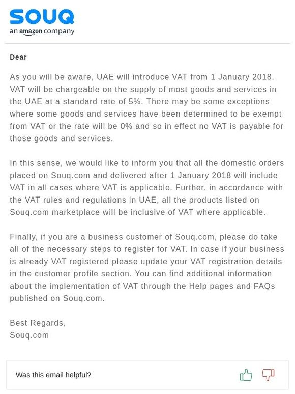 Souq: Introduction of VAT in the UAE from 1 January 2018 | Milled