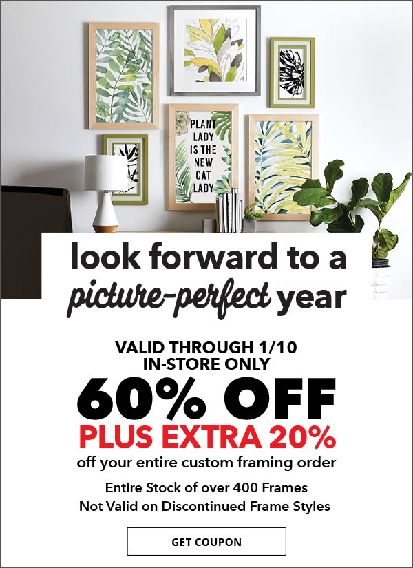 Look forward to a picture-perfect year. 60% off plus 20% off your entire custom framing order. Get coupon.