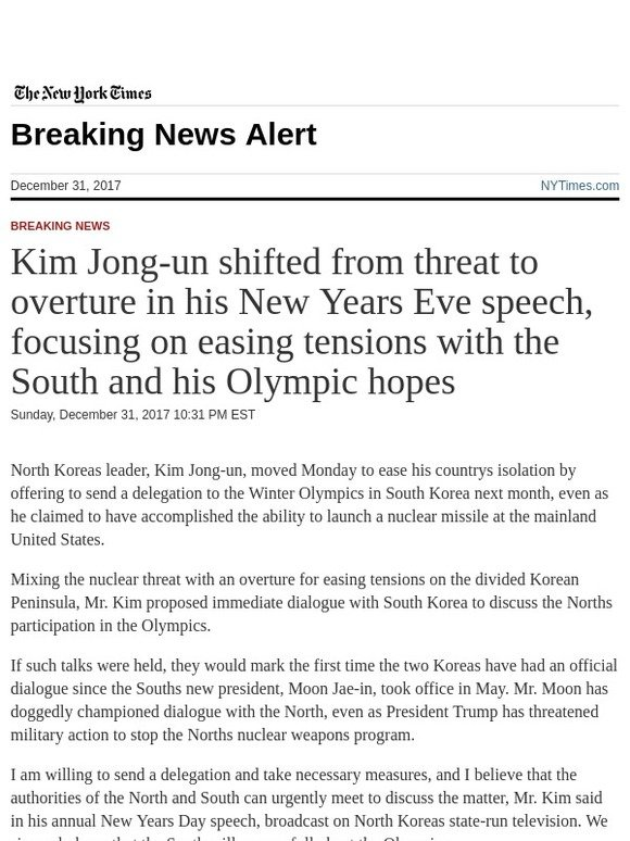 The New York Times: Breaking News: Kim Jong-un shifted from threat ...
