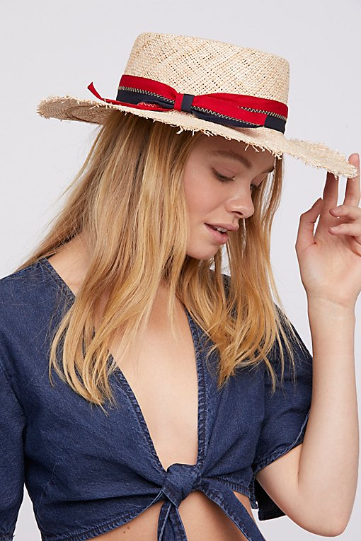 Lucky Stripe Straw Boater