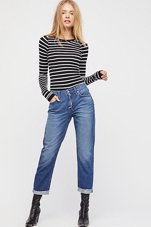 Rip Zip Slim Boyfriend Jeans