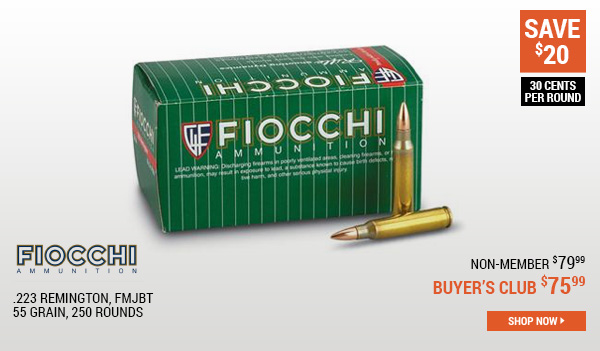 Fiocchi, .223 Remington, FMJBT, 55 Grain, 250 Rounds