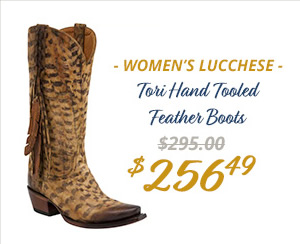Womens Lucchese Tori Hand Tooled Feather Boots