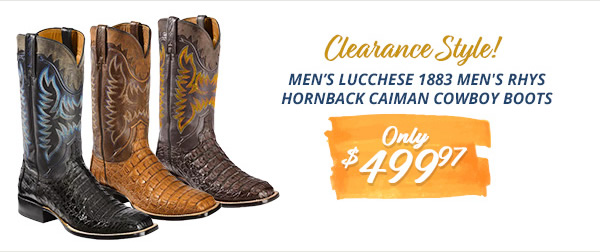 Mens Lucchese 1883 Men's Rhys Hornback Caiman Cowboy Boots