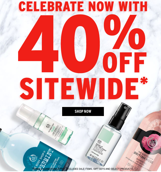 CELEBRATE NOW WITH 40% OFF SITEWIDE. To redeem in-store, simply show this email. TERMS & CONDITIONS APPLY. EXCLUDES SALE ITEMS, GIFT SETS AND SELECT PRODUCTS. SHOP NOW.