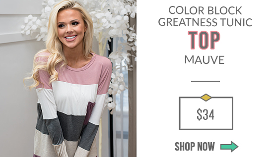 Color Block Greatness Tunic Top Mauve