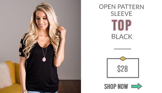 Open Pattern Sleeve Top Black