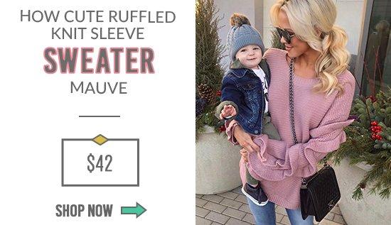 How Cute Ruffled Knit Sleeve Sweater Mauve