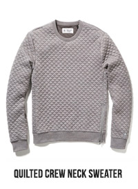 QUILTED CREW NECK SWEATER