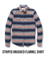 STRIPED BRUSHED FLANNEL SHIRT