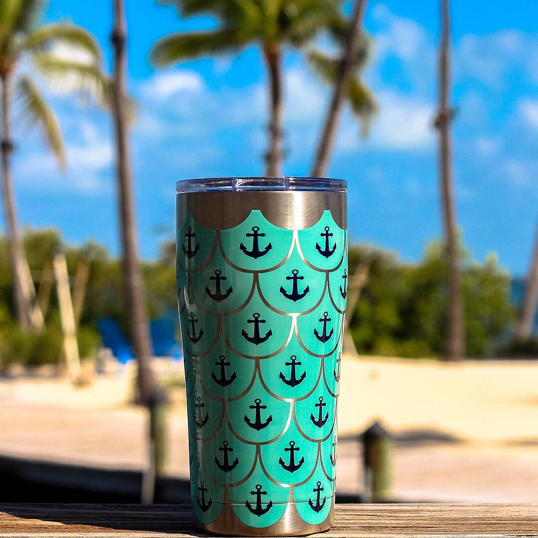 Stainless Steel Tumbler, Anchors & Scallops Pattern