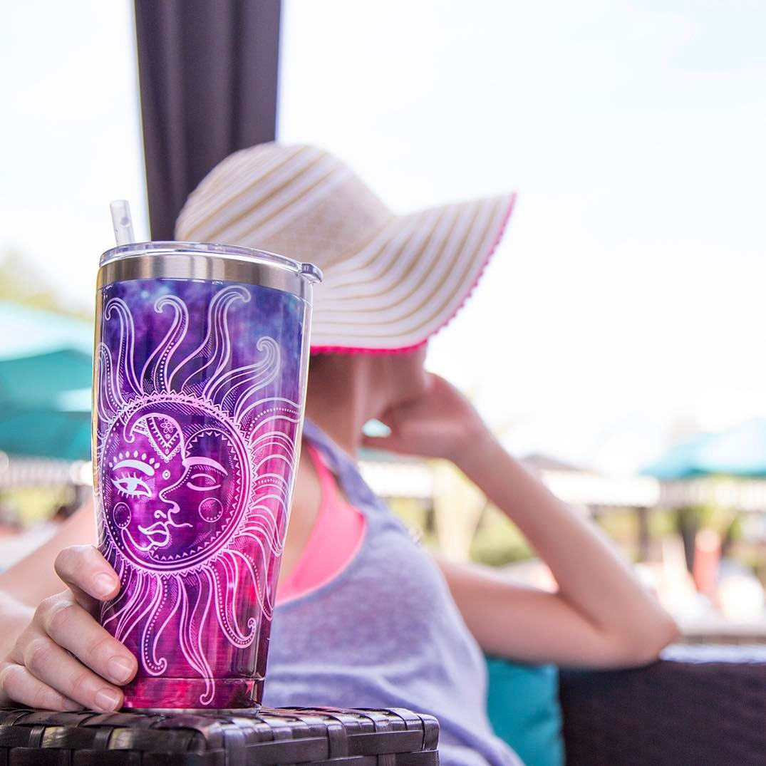 Stainless Steel Tumbler, Celestial Moon and Stars