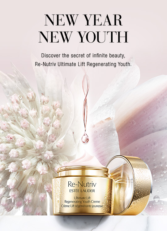 New Year New Youth  Discover the secret of infinite beauty,  Re-Nutriv Ultimate Lift Regenerating Youth.  Infused with exclusive Floralixir Dew  to reveal a more lifted, firmer, radiant look and endlessly regenerate the vital bloom of youth. Discover The Secret