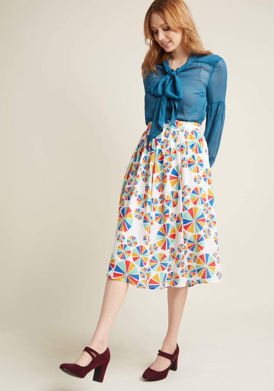 skirt with pockets in rainbow pinwheels