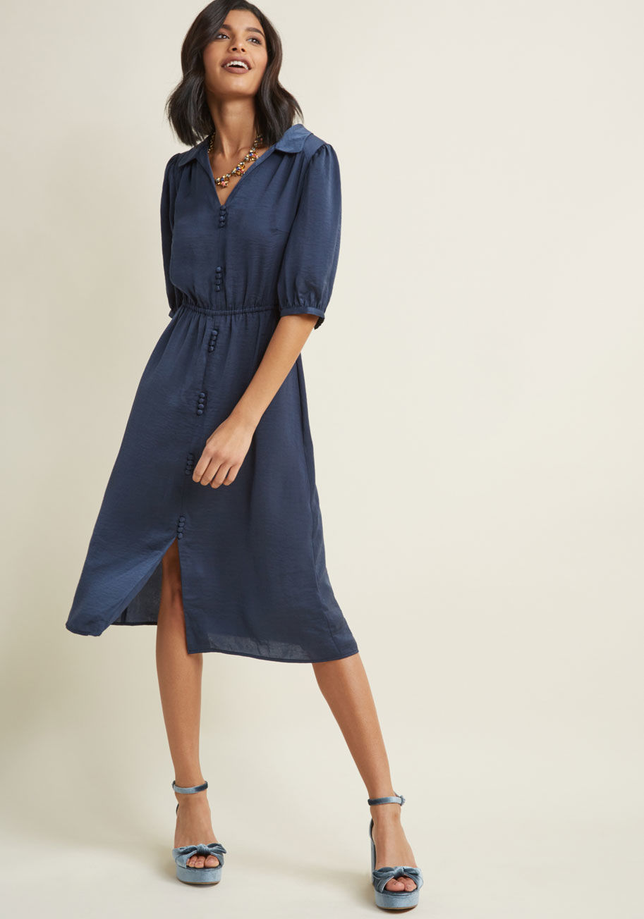 Satin midi shirt dress in blue