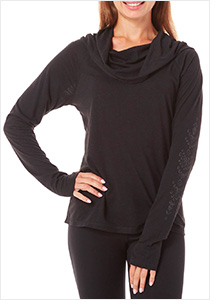 Gaiam Hooded Cowl Neck Top