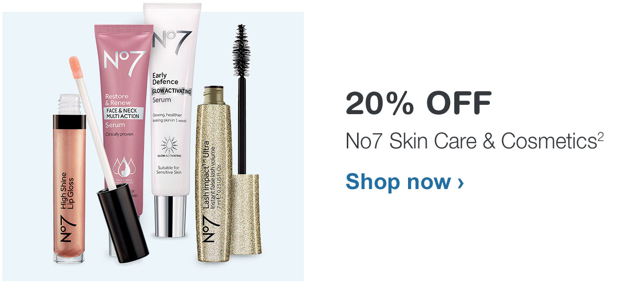 20% OFF No7 Skin Care & Cosmetics