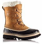 A profile view of a snow boot.
