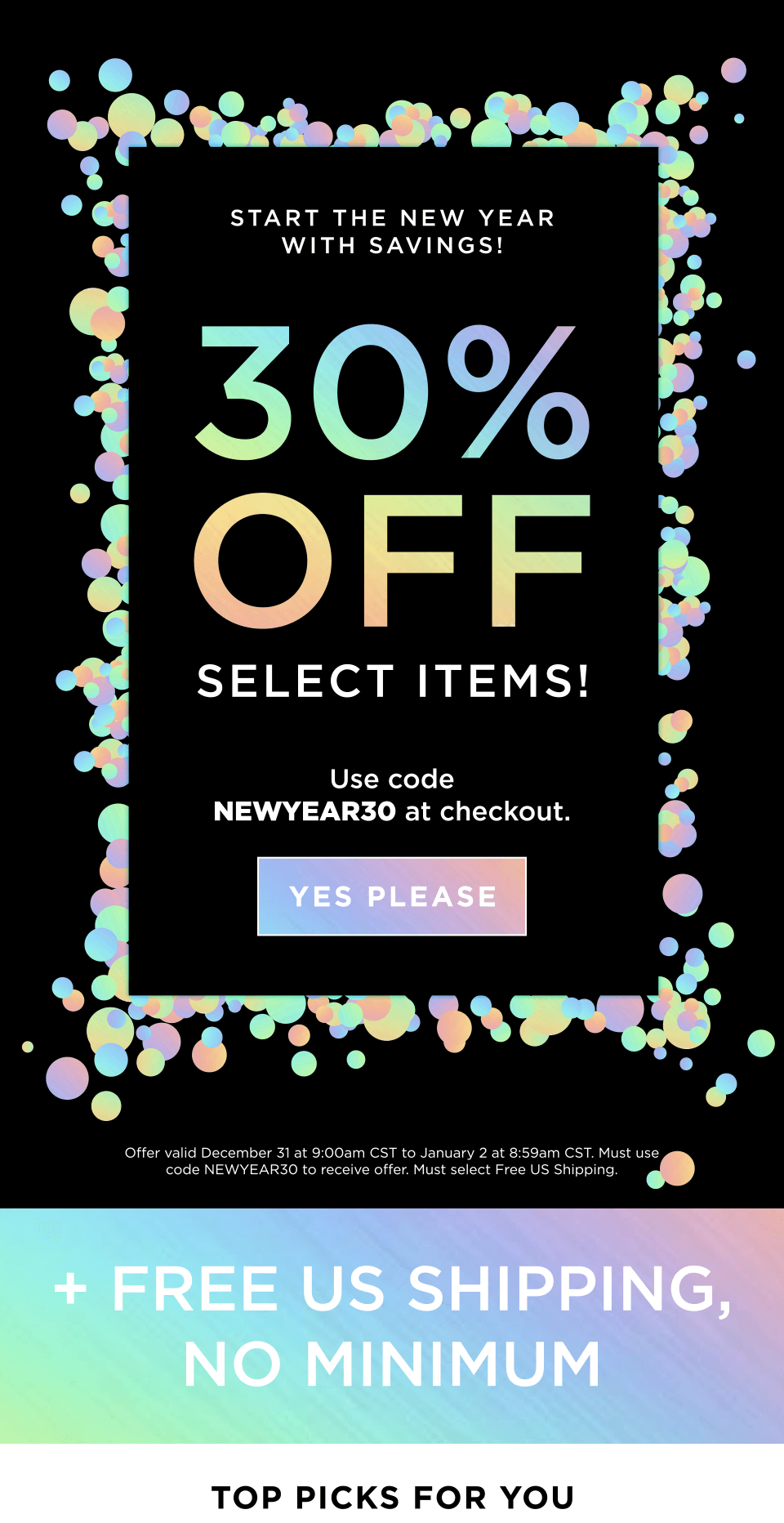 30% OFF SELECT ITEMS!+ FREE US SHIPPING, NO MINIMUM