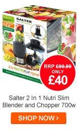 Salter 2 In 1 Nutri Slim Blender and Chopper 700w