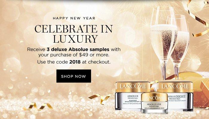 HAPPY NEW YEAR CELEBRATE IN LUXURY - SHOP NOW