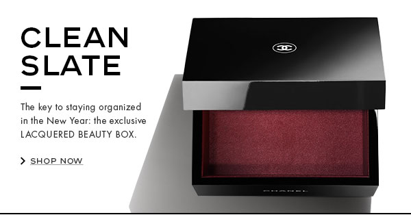 CLEAN SLATE. The key to staying organized in the New Year: the exclusive LACQUERED BEAUTY BOX.