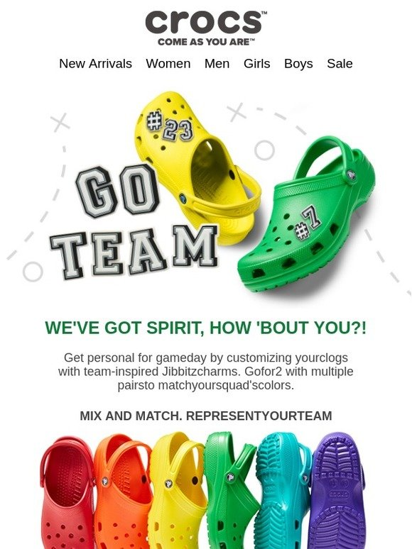 team-colored clogs personalized