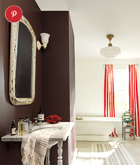 Add a spark of drama to your bathroom with an accent wall in Incense Stick.