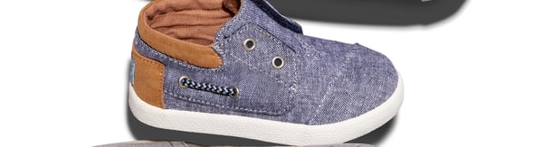 Navy Slub Chambray Tiny TOMS Bimini High Sneakers