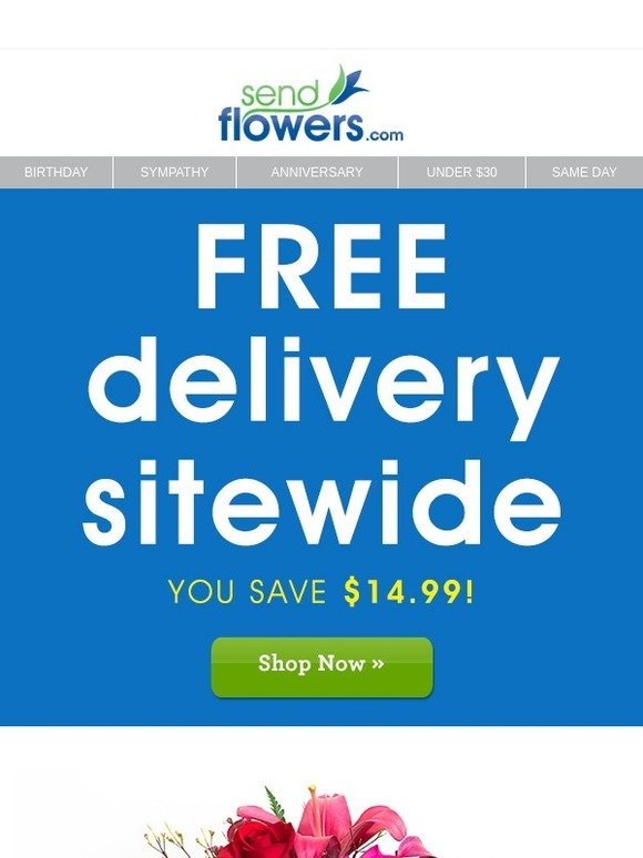 Today Only FREE Flower Gift Delivery
