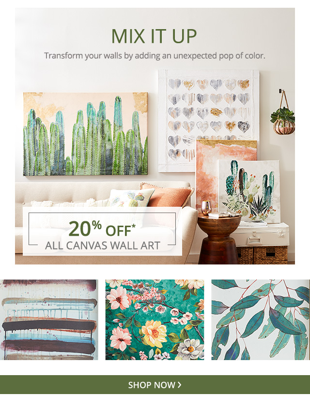 20% off all canvas wall art.