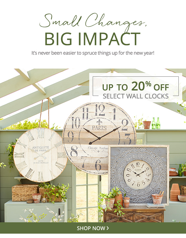 Up to 20% off select wall clocks.
